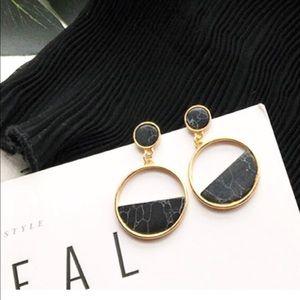 """""""Tara"""" 🖤Black Marble Geo Circular Drop Earrings"""